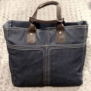 Retro denim & leather bag. Great weekend bag! ✈️✌️